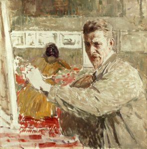Gemälde von Robert Sterl, Selbstbildnis an der Staffelei, 1927