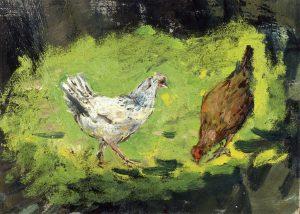 Gemälde von Robert Sterl, Zwei Hühner, um 1901