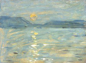 Gemälde von Robert Sterl, Mondnacht über der Wolga - blaue Nacht, 1908