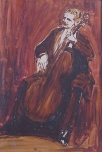 Portät des Cellisten Georg Wille von Robert Sterl, Studie zum Petri-Quartett