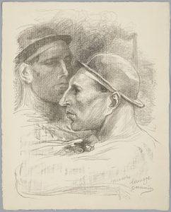 Constantin Meunier_Köpfe von 2 belgischen Bergarbeitern_Lithographie